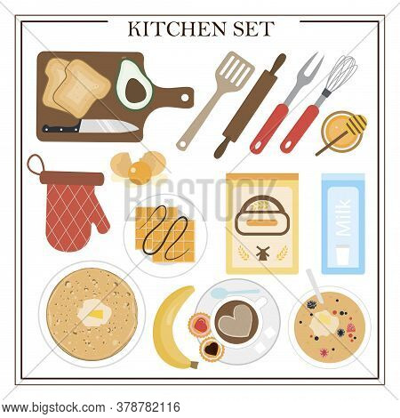 Set Of Kitchen Items And Dishes For Breakfast. Vector Illustration Of A Dining Table With Coffee, Ca