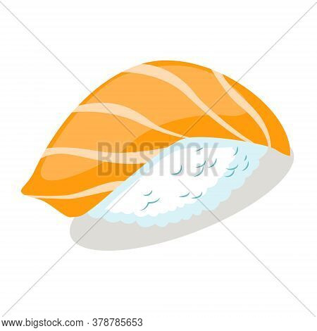 Nigiri Sushi With Salmon. Japanese Traditional Food. Vector Flat Icon. Isolated On White Background