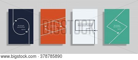 Quote Speech Box Design Templates Set. Quatation Text In Bubble Brackets Frame. Citation Empty Graph
