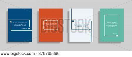Quote Speech Box Design Templates Set. Quatation Text In Bubble Brackets Frame. Citation Empty Graph