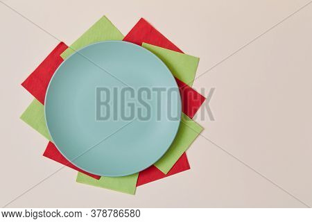 Table Setting Background. Holiday Celebration. Festive Dinner. Party Concept. Top View Of Plate On C