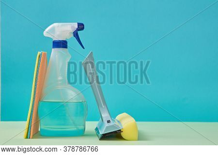 Housekeeping. Cleaning Supplies Or Purity Concept. Detergent Spray Or Nozzle For Cleaning Window. Co