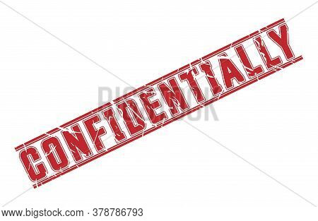 Stamp With The Imprint Confidentially. Grunge Style With Scuffed Edges. Vector Illustration
