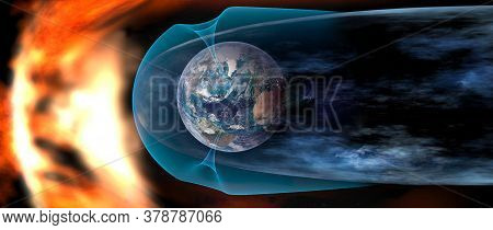 Protect The Earth From Solar Wind, Solar Wind Colliding With Earth's Magnetic Field. Elements Of Thi