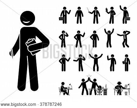 Stick Figure Business Man Standing In Different Poses Design Vector Icon Set. Happy, Sad, Surprised,