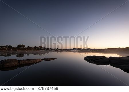 Sunrise In The Natural Park Of Los Barruecos. Extremadura. Spain.