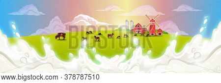 Organic Farm Vector Illustration With Grazing Livestock, Barn, Windmill, Fence, Green Meadow, Haysta
