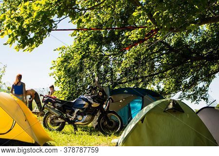 Senno, Belarus - 07.03.2015: Summer Open-air Motorcycle Festival, Motorcycles On A Sunset Background