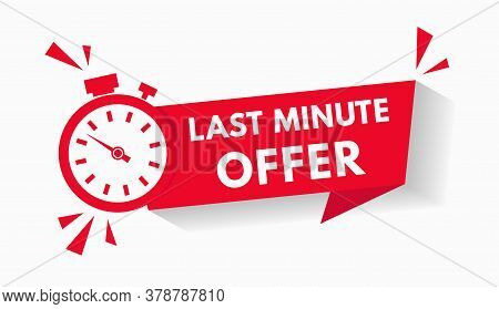 Red Last Minute Sale Offer With Clock For Promotion, Button, Logo Or Banner Isolated On White. Label