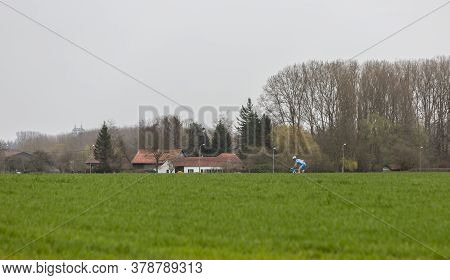 Templeuve-en-pévèle, France - April 08, 2018: The Lithuanian Cyclist Evaldas Siskevicius Of Delko-ma