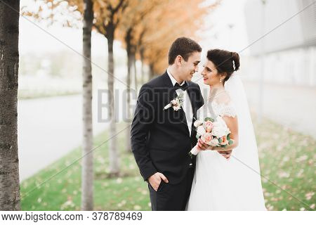 Newly Married Couple Running And Jumping In Park While Holding Hands