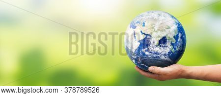 Hand Holding Earth Globe. World Environment Day Concept. Elements Of This Image Furnished By Nasa