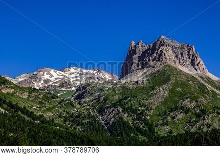 Summer Image Of Mount Thabor (3178 M) And Le Grand Seru(2889m) Located In Etroite Valley In Hautes-a