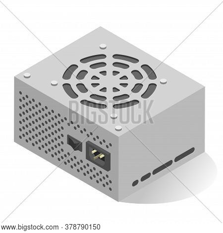 Power Supply Unit Or Psu Realistic Isometric Icon. Computer Internal Component, Hardware.