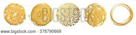 collection of Gold (bronze) circle blot element on white background.  Art Abstract texture.