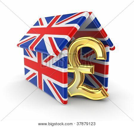 Pound sterling under british flags.