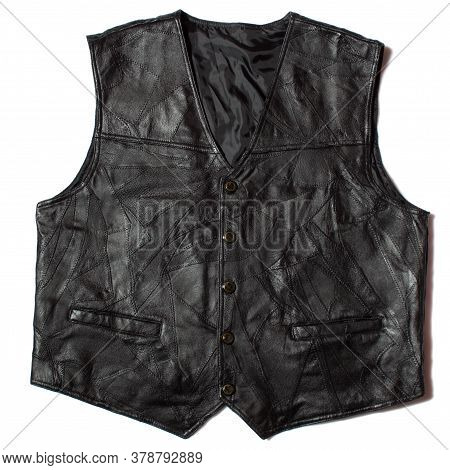 Real Leather Mens Waistcoat On White Background