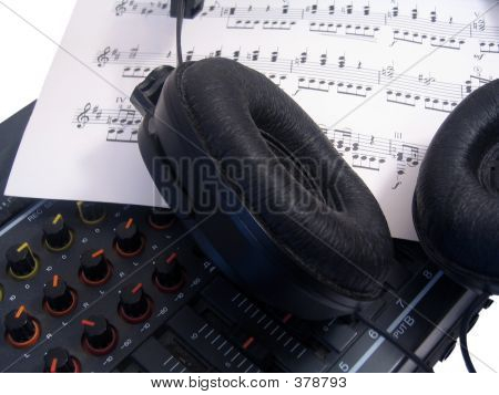 Headphones And Mixing Board