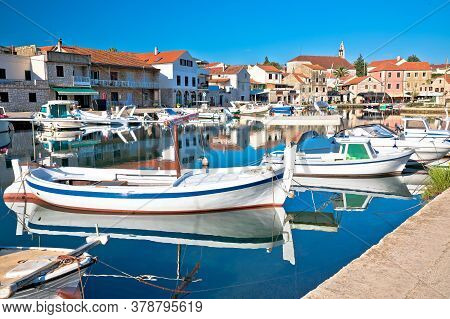 Hvar. Old Town F Vrboska Waterfront View, Island Of Hvar, Croatia