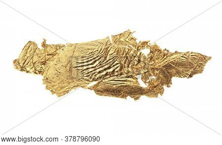 Abstract torn piece of patal paper on white background. Gold and bronze color.
