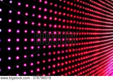 Bright Led Screen, Lots Of Red Light Rays, Light Background