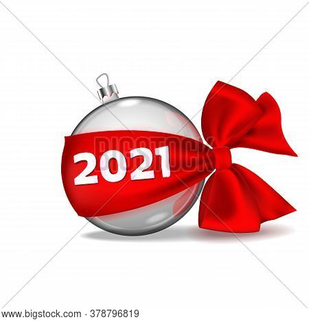 Christmas Ball Hanging On Red Ribbon Bow Realistic Isolated With Golden Numbers 2021. Happy New Year