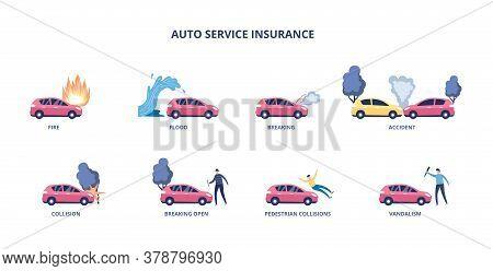 Set Of Auto Insurance Cases For Money Compensation Flat Vector Illustration.