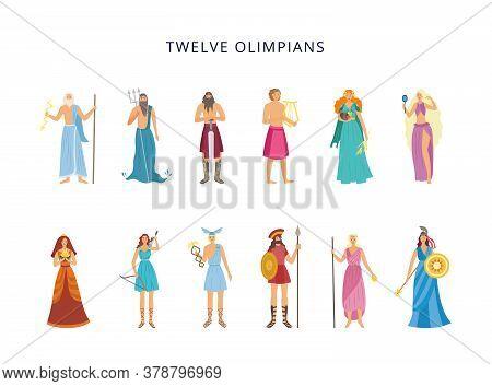 Twelve Olympians Of Greek Gods And Goddesses, Flat Vector Illustration Isolated.