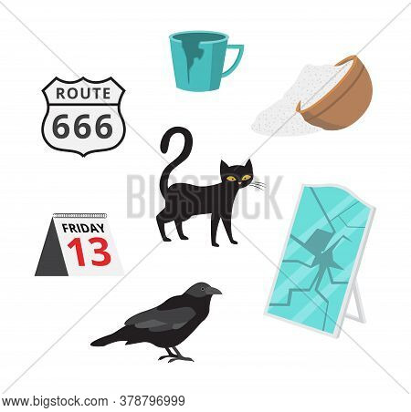 Superstitious Beliefs Signs Of Bad Fortune Flat Vector Illustration Isolated.