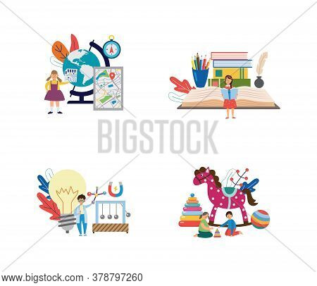 Education Illustrations - Kindergarten, Literature, Geography And Physics.