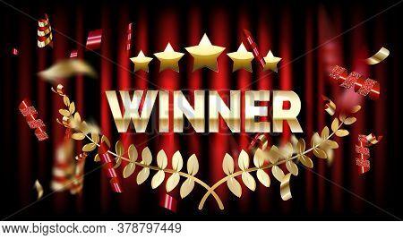 Winner Frame Label, Falling Ribbons Winner. Vector Illustration