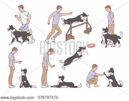 Set Of Dog Training For Obedience, Scenes Sketch Vector Illustration Isolated.
