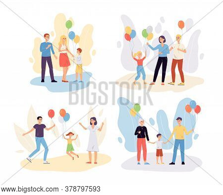 Happy Family With Helium Balloons - Set Of Cartoon People With Children