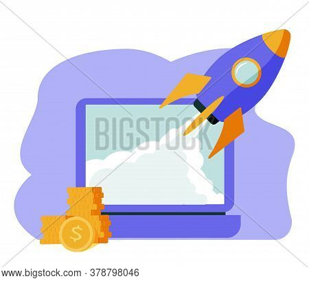 Isometric Rocket Fast Start Up Launch Laptop, Ecommerce Business Start Up Project, Button Press Star