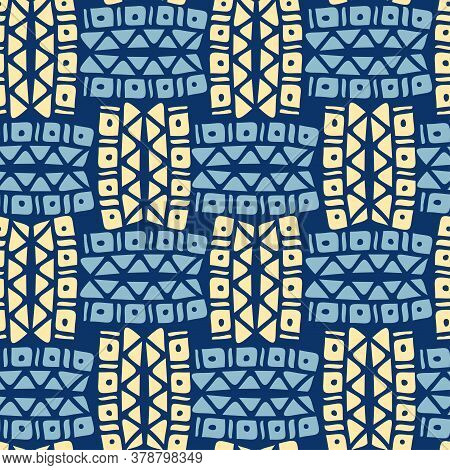 Vector Seamless Vintage Pattern Of Traditional Textile Patchwork Blanket In Blue