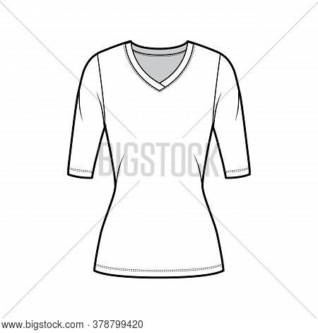 V-neck Jersey Sweater Technical Fashion Illustration With Elbow Sleeves, Close-fitting Shape, Tunic