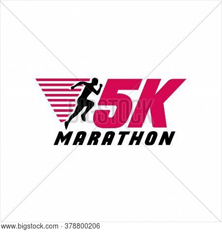 5k Run Logo Design Vector Stock Symbol .running Logo Sport Concept . Running Marathon Logo Design Te