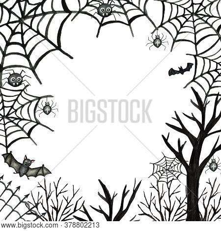 Happy Halloween Holiday Party Frame With Bat, Spider, Web, Trees Party Decorations. Watercolor Borde