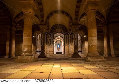 Speyer, Germany - Mar 14, 2020: Interior Of Cathedral In Speyer, Germany. Officially Called The Impe