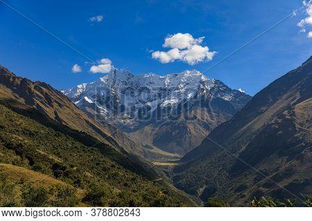 View From Salkantay Trek Over Snowy High Peak Mountain Near Cusco, Peru