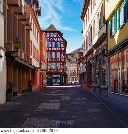 Neustadt, Germany - Mar 15, 2020: In The Streets Of The Beautiful Old Town Of Neustadt On The Wine R