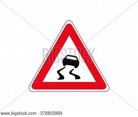 Slippery Road Traffic Warning Sign Vector. Red Triangle Board. Road Traffic Symbols.