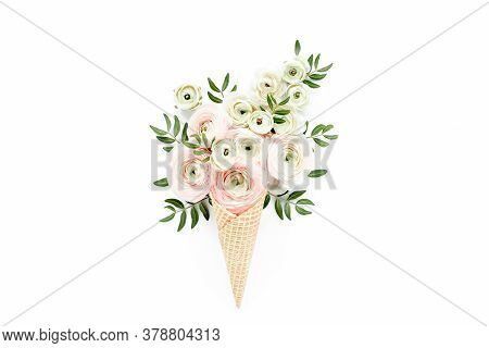 Waffle Cone With Ranunculus Flower Bouquet On White Background. Flat Lay, Top View Floral Background