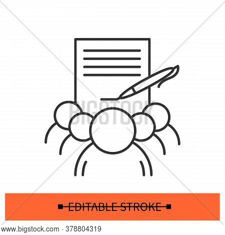 Petition Icon. Signed Public Demand Document With Group Of Supporters Linear Pictogram. Concept Of S
