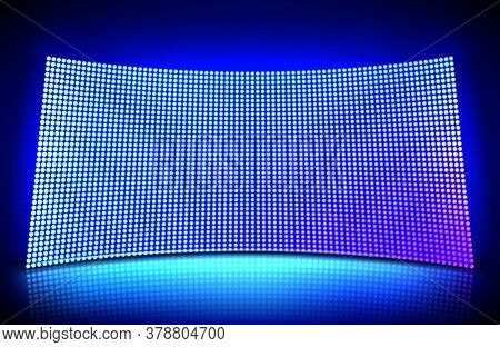 Concave Led Wall Video Screen With Glowing Blue And Purple Dot Lights. Vector Illustration Of Grid P