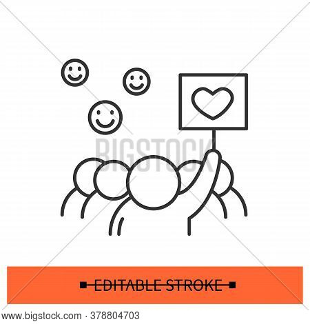 Peaceful Protest Icon. Group Of People Marching With Smiles And Banners Linear Pictogram. Concept Of