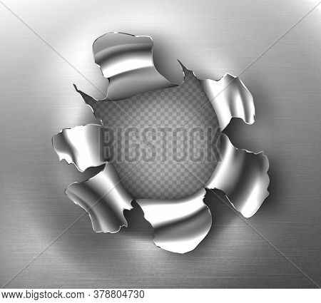 Torn Hole, Ragged Round Crack In Steel Sheet. Vector Realistic Mockup Of Ripped Edges Of Metal Break