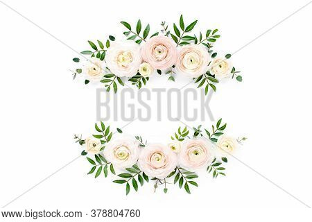 Floral Frame Wreath Of Pink Ranunculus Flower Buds And Eucalyptus On White Background. Flat Lay, Top