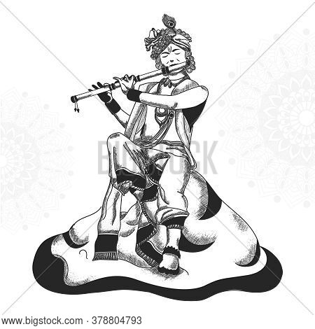 Creative Hand Drawn Sketch Illustration Of Lord Krishna, Indian Festival Celebration Birthday Of Lor