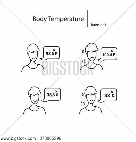 Body Temperature Icons Set. Person Reporting Normal And Elevated Celsius And Fahrenheit Body Tempera